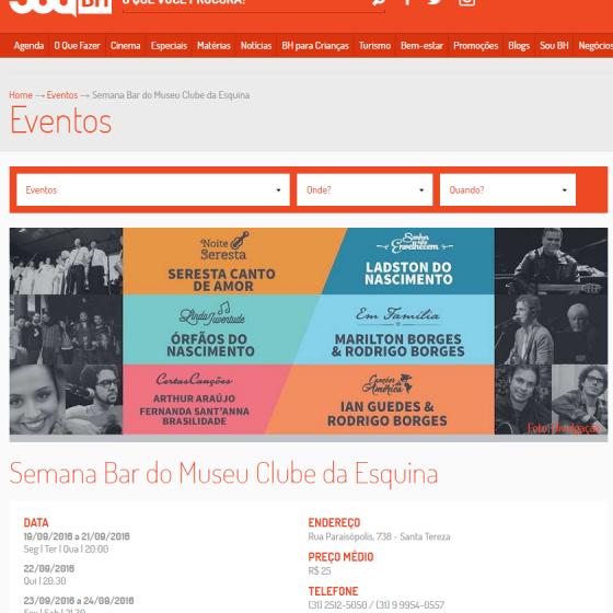 Semana Bar do Museu Clube da Esquina   Eventos   Sou BH